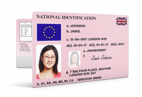 Fake UK national ID card for sale online
